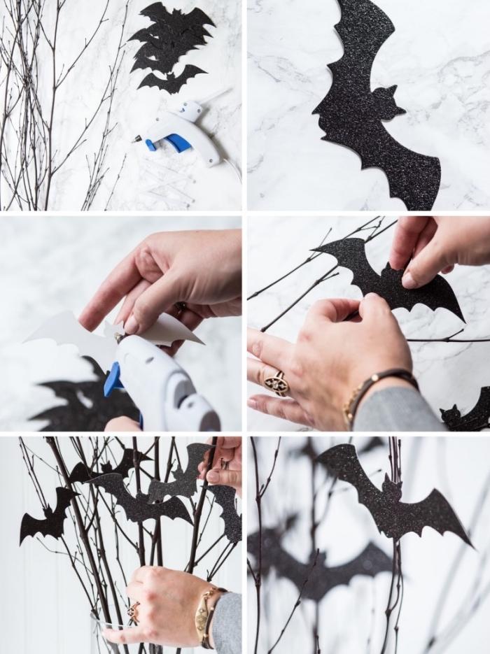 halloween deko selber machen, diy anleitung, zweige mit fledermäusen dekorieren, einfach