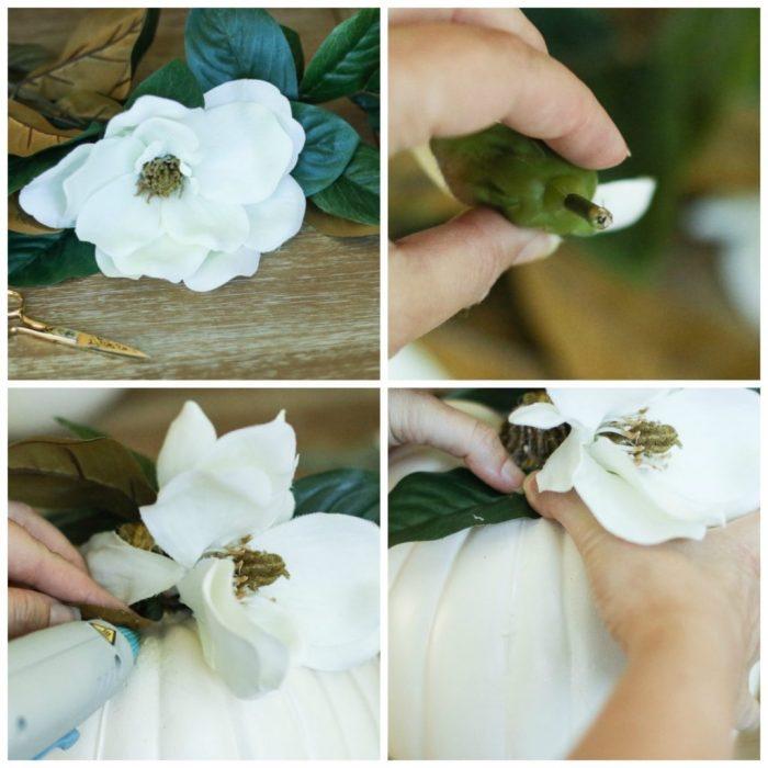 halloween deko selber machen, anleitung in bildern, weiße blumen in vase ordnen, diy vase
