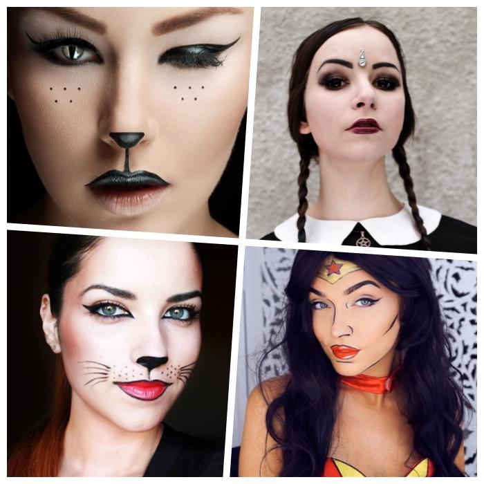 halloween gesicht schminken, katze make up,super woman, katzenaugen linsen, wendesday