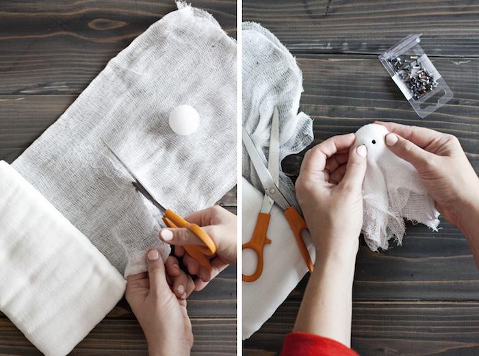 Kleine Gespenster aus Bällchen und Verband selber machen, DIY gruselige Girlande zu Halloween