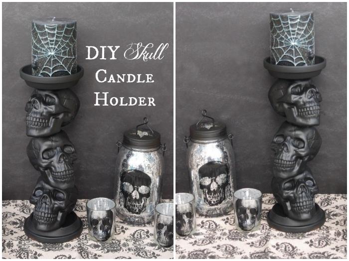 halloween ideen, großer kerzenhalter aus schädeln, grauer kerzenständer, silberne laterne, teelichhalter