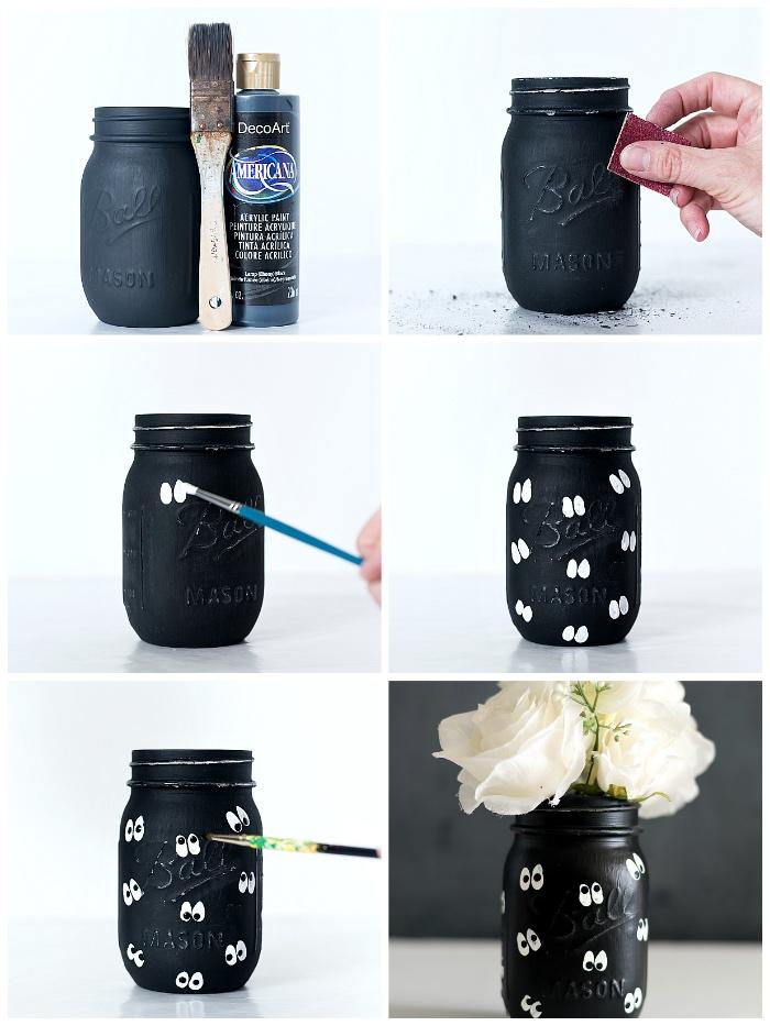 halloween ideen, einmachglas schwarz färben, augen malen, diy vase, upcycling