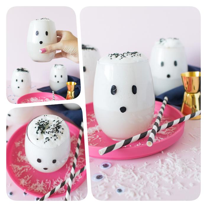 Gespenst Milchshake selber machen, tolle Idee für Halloween Party für Kinder