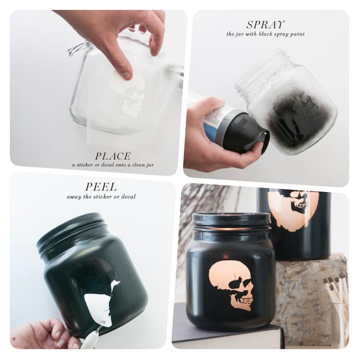 Halloween Laterne aus Einmachglas selber machen, mit Schädel Schablone und schwarzem Spray