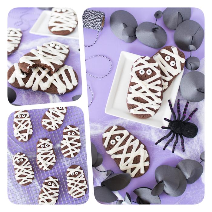 Mumien Schokokekse selber backen, mit weißer Schokolade dekorieren, Zuckeraugen kleben