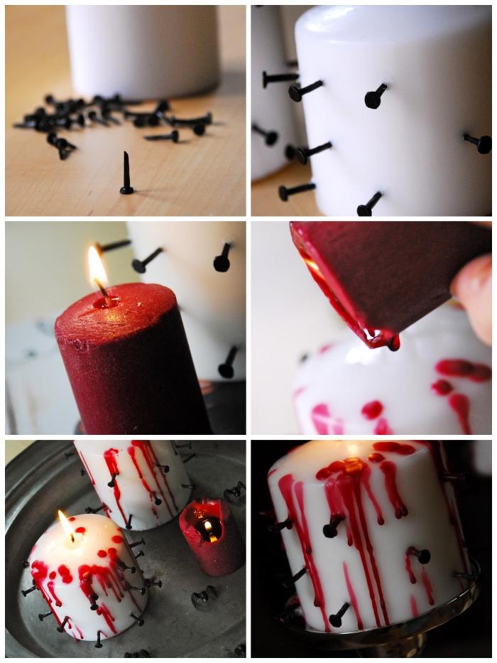 kerzen dekorieren, hallowen ideen, schwarze nagel, einfache anleitung, gruselige deko