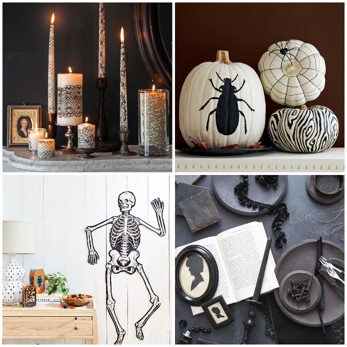 hallowen ideen zum selbermachen, weiße kürbisse dekorier mit schwarze farbe, grippe als wanddeko