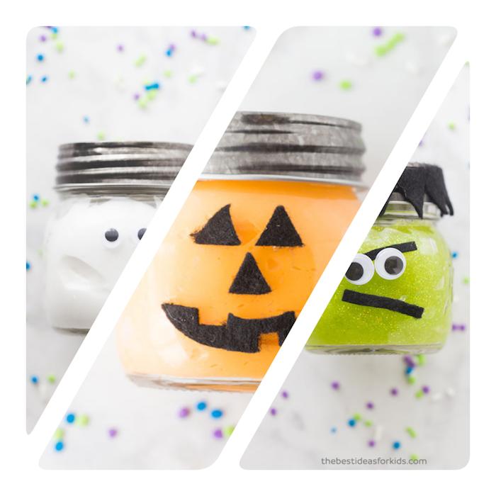 Halloween Schleim selber machen, Gespenst Kürbis und Zombie in Einmachgläsern