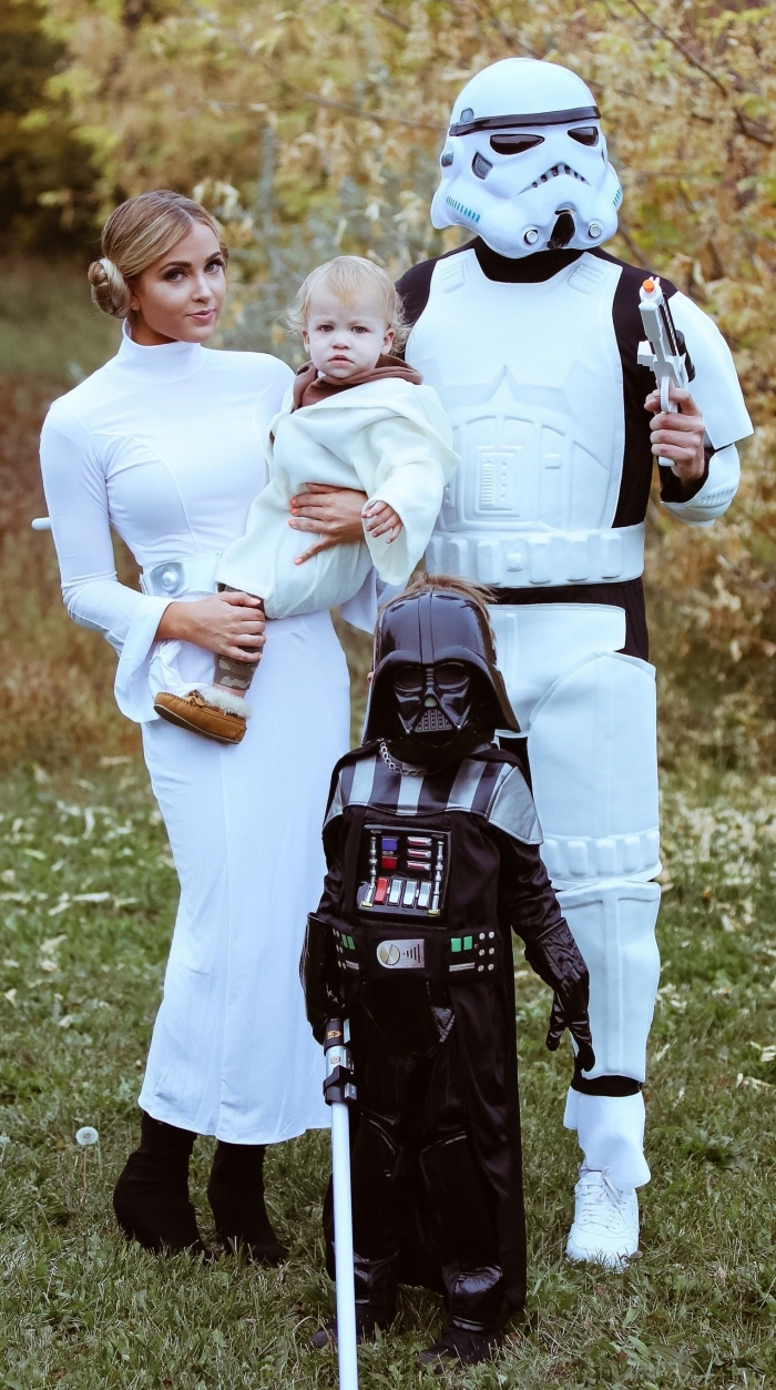 halloween kostüm ideen für familie, prinzessin lea, darth vader, star wars, luke skywalker