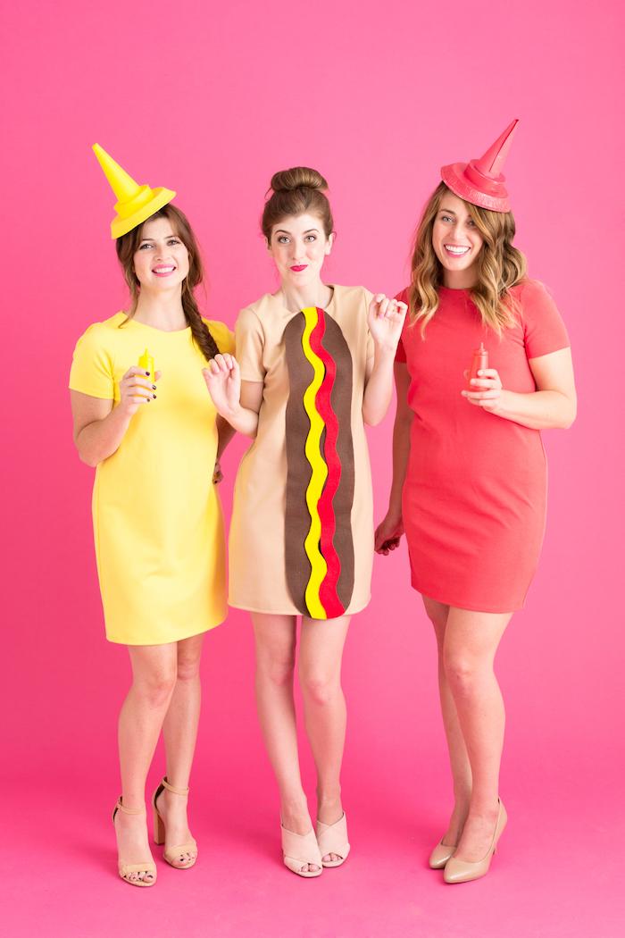 Last Minute Halloween Kostüme für drei Freundinnen, Hot Dog, Senf und Ketchup, lustige Halloween Kostüme