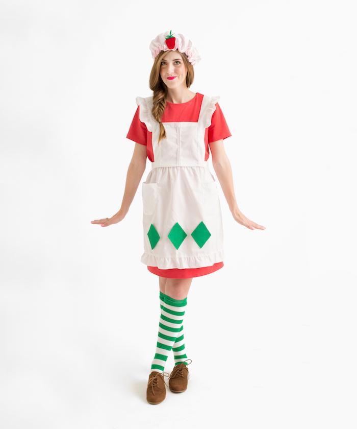 Lustigen und einfachen Last Minute Halloween Kostüm für Frauen selber nähen, Hausfrau Kostüm