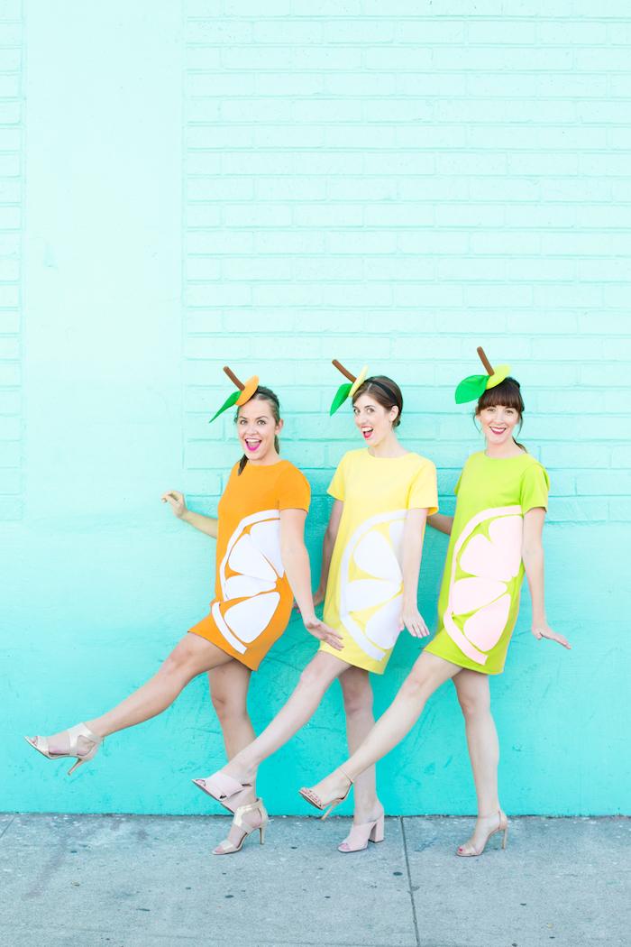 Lustige Halloween Kostüme für drei Freundinnen, Last Minute Apfel Kostüme selber nähen