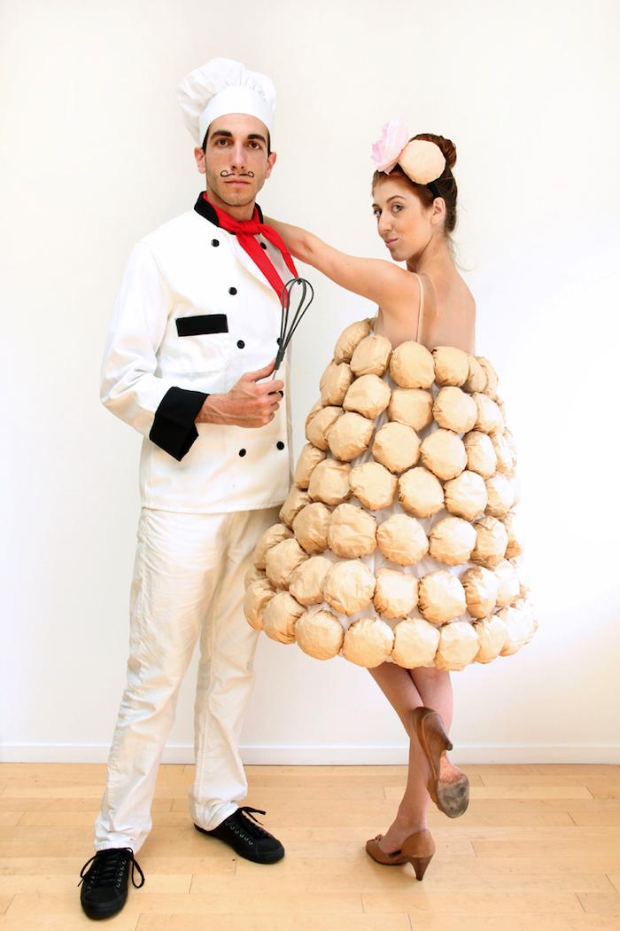 Lustige Halloween Kostüme für Paare, französischer Koch und Windbeutel-Pyramide