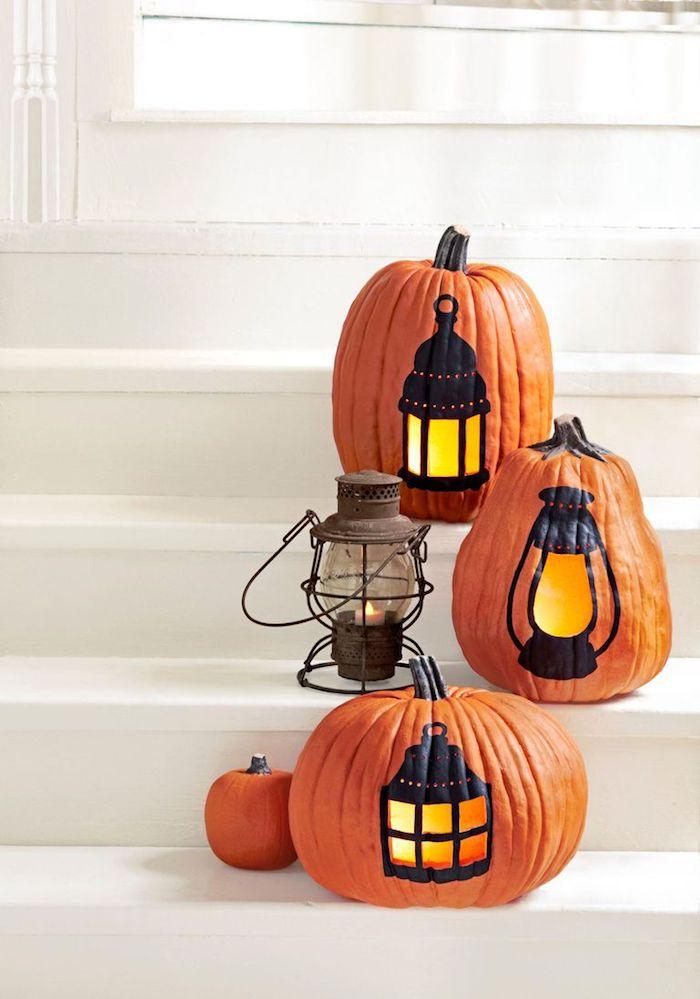 Laterne aus Kürbis zu Halloween basteln, kreative DIY Idee zum Nachmachen, Kürbis schnitzen