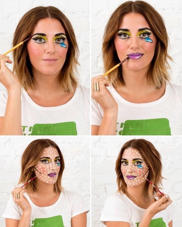 halloween make up selber machen, augen großer schminken, comics schminke tutorial