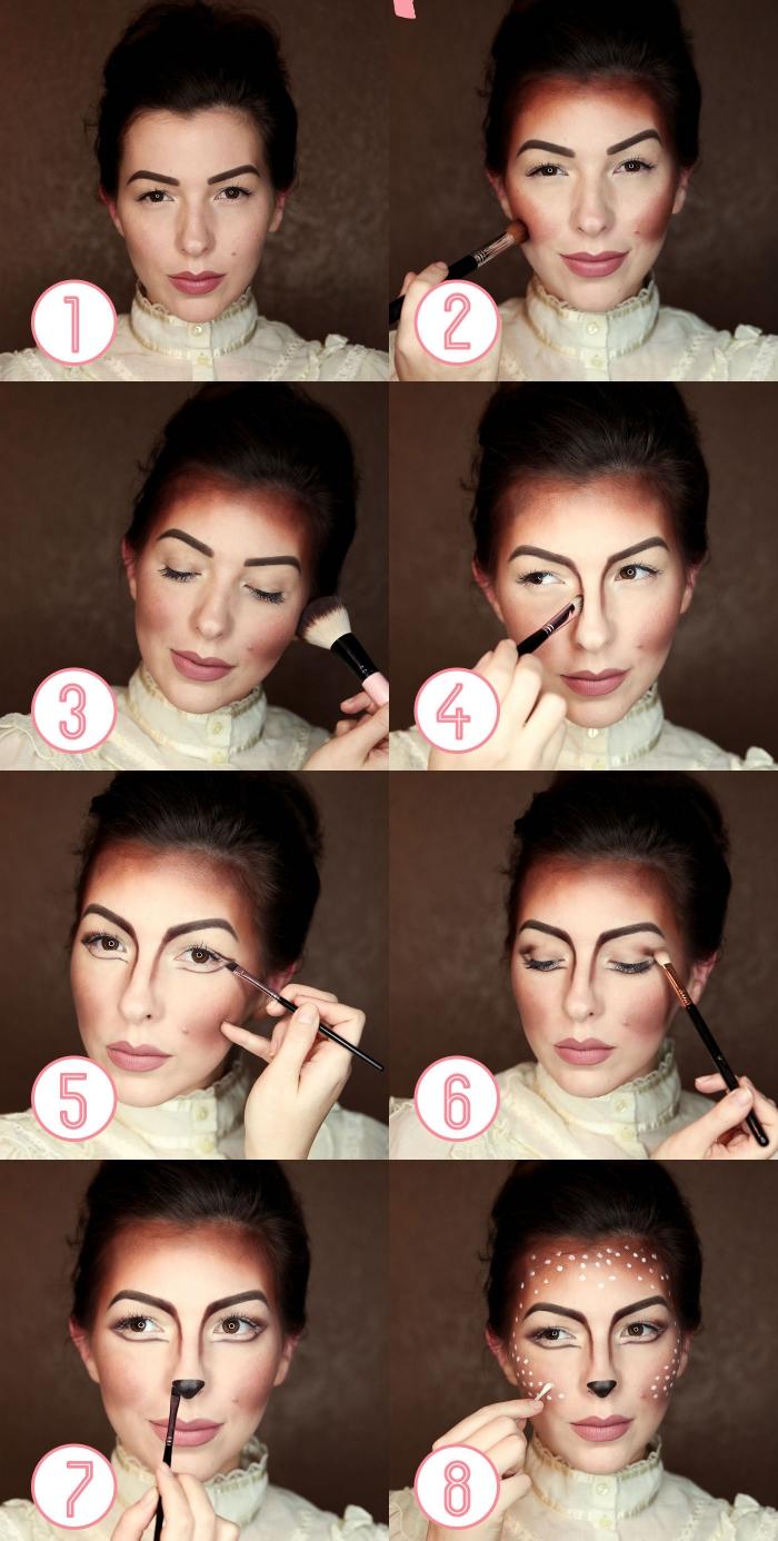 halloween makeup anleitung, reh schminken, tier make up selber machen, schminkideen