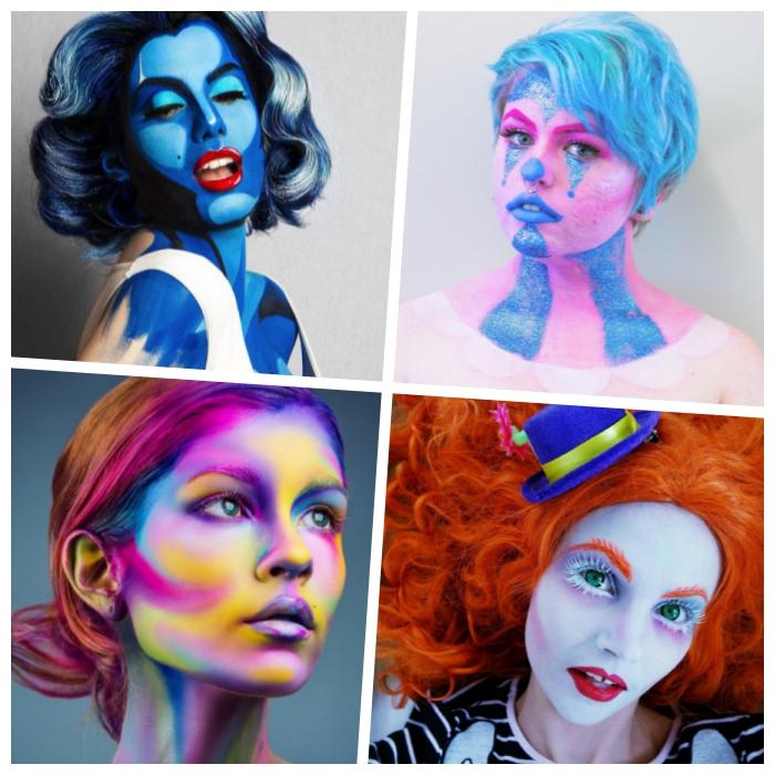 halloween makeup, merilyn monroe, clown schminken, die königin der herzen, alice im wunderland