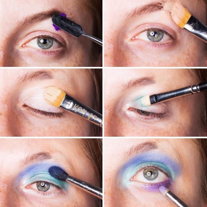 halloween makeup selber machen, augen schminken, meerjungfrau schminke tutorial