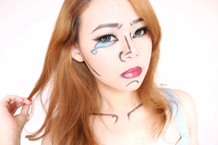 halloween schminken frauen, comics make up, große träne, karamellfarbene haare, blaue linsen