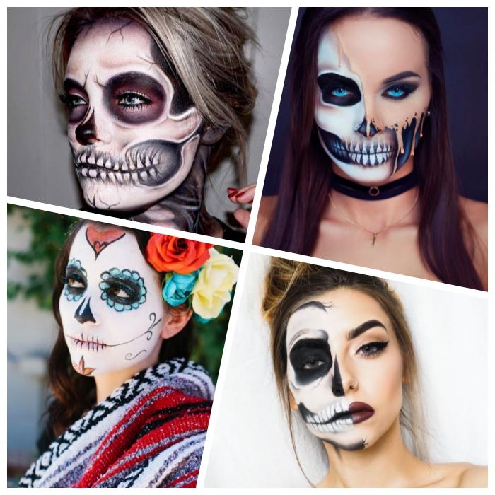 halloween schminken frauen, make up ideen, mexikanischer totenkopf, halber schädel, realitisch