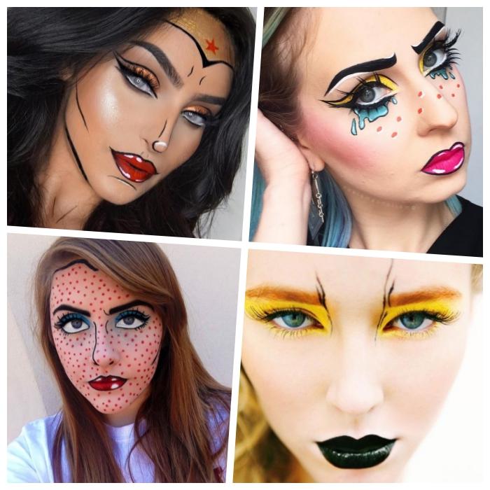 halloween schminken, comics gesicht make up, wonder woman, schwarzer lippenstift