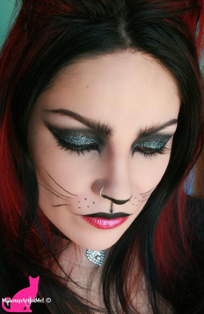 katze make up, lidschatten mit glitzer, halloween schminkideen für frauen, ombre haare