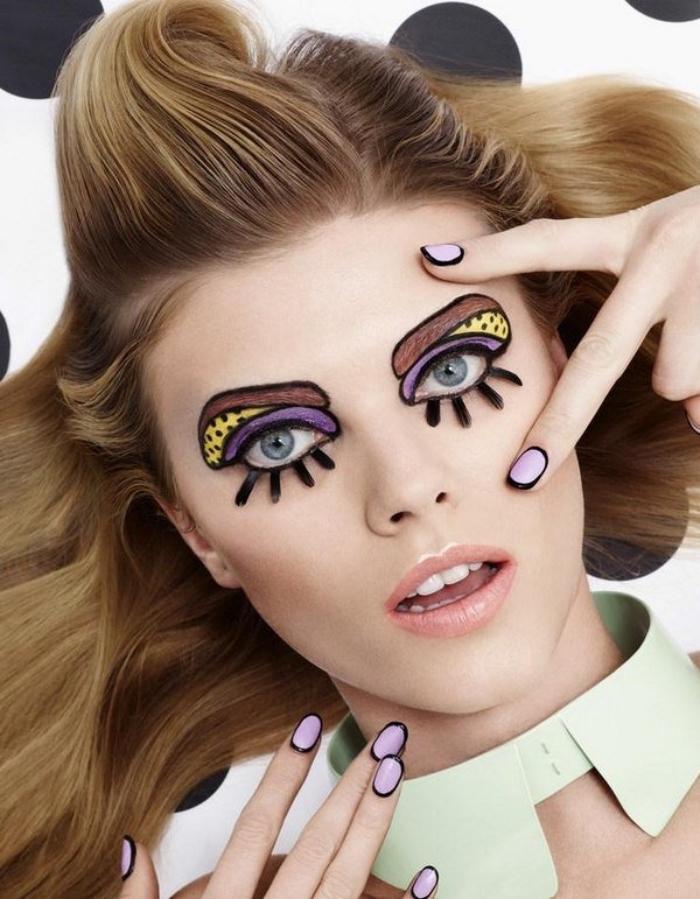 haloween schminkideen für frauen, honigfarbene haarem nagellack in schwarz und lila
