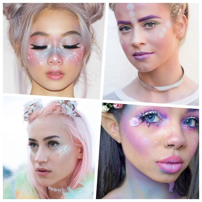 halloween schminkideen, pastelfarbene haare, einhorn make up in rosa und lila, sternbilder