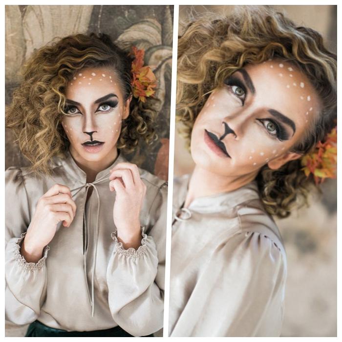 reh make up selber machen, halloween schminkideen, lockige haare, frisur mit locken
