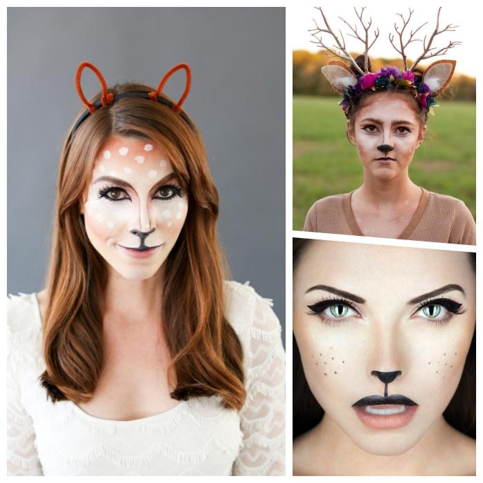halloween schminkideen für frauen, reh make up, kopfschmuck mit blumen, geweih mit ohren