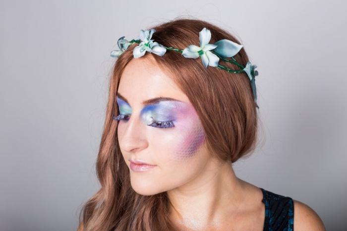 halloween makeup selber machen, meerjungfrau schminken, augen make up einfach