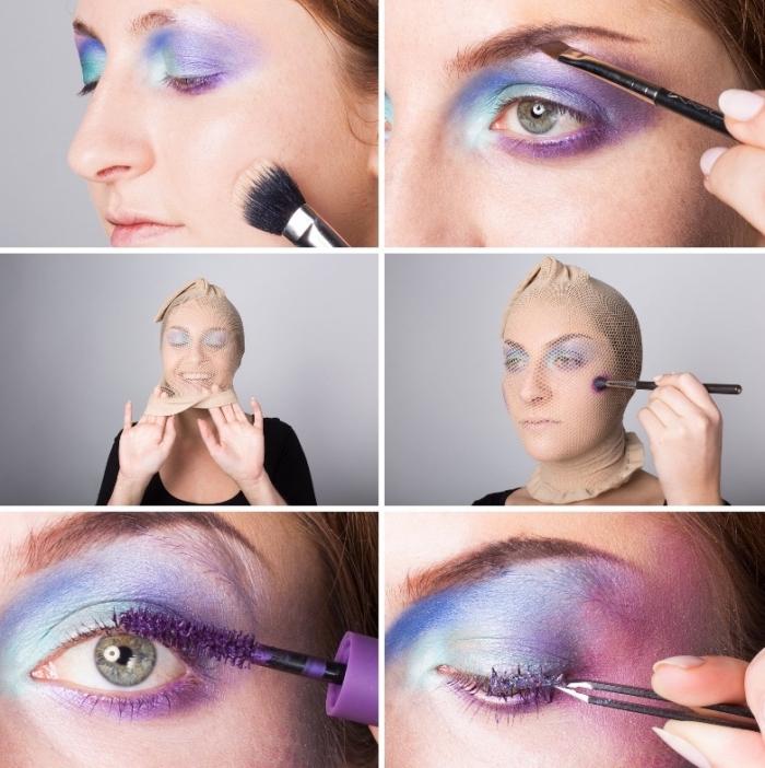 meerjungfrau schminke selber machen, halloween makeup selber machen, frischschuppen machen