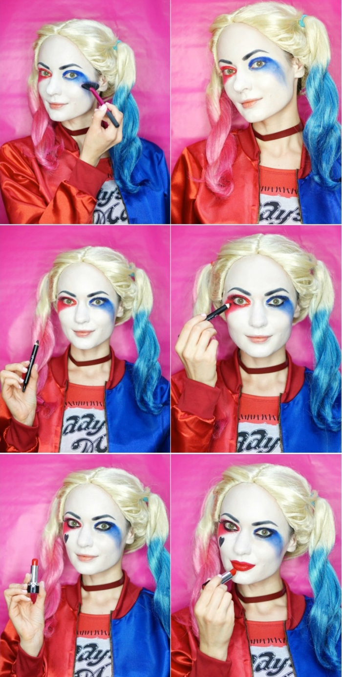 harley quinn schminken, halloween makeup selber amchen, anleitung in bildern