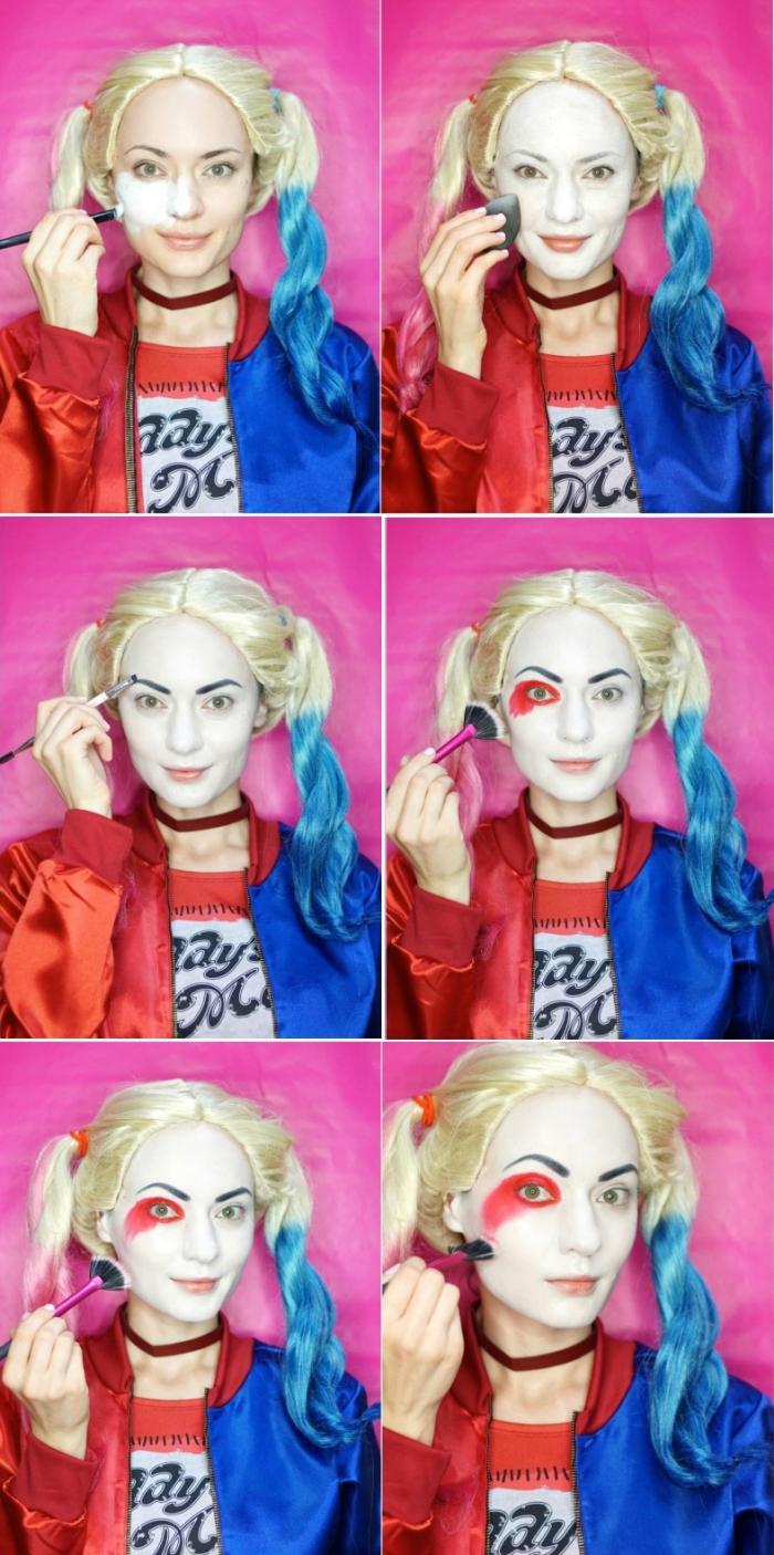 halloween makeup, harley quinn make up selber machen, schminkideen zu halloween