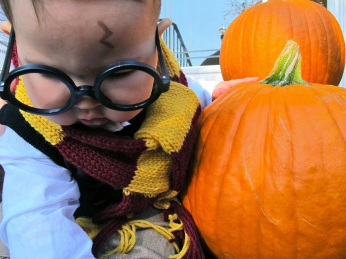 das Harry Potter Baby ist so niedlich, spielt zwischen die Kürbisse, Kinderkostüme selber machen