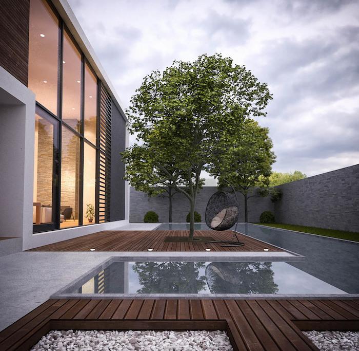 hausidee garten mit pool und einem großen baum, grundriss haus, hausbeleuchtung, wände aus glas