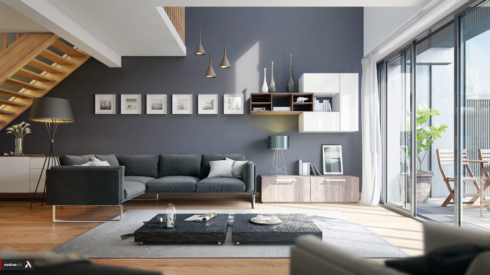 haus einrichten, graue wandfarbe, boden aus holz, vieles licht, kleine bilder über dem sofa, pendellecuhten
