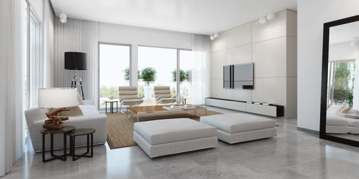 haus einrichten, kleines wohnzimmer gestaltne, weiße wände und möbel, keramikfliesen