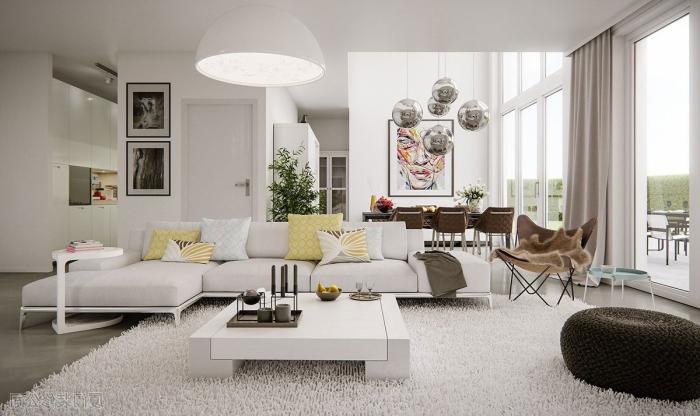 haus einrichten, wohnzimmer in weiß, große pendellampe, gelbe und mitnfarbene dekokissen, flauschiger teppich