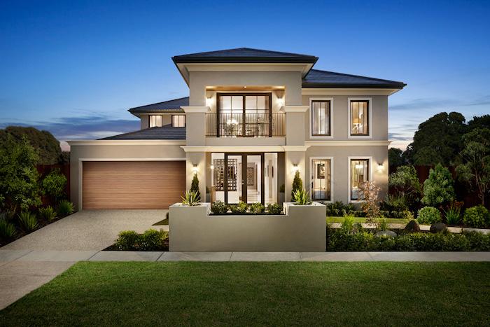 grundriss haus, schönes großes haus mit terrasse und balkon auf dem zweiten stock, garage, gute abendbeleuchtung