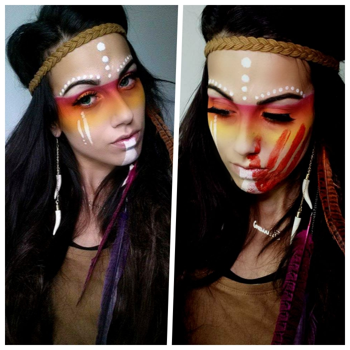 indiander schminke in rot, orange und weiß, große feder, geflochtenes kopfband