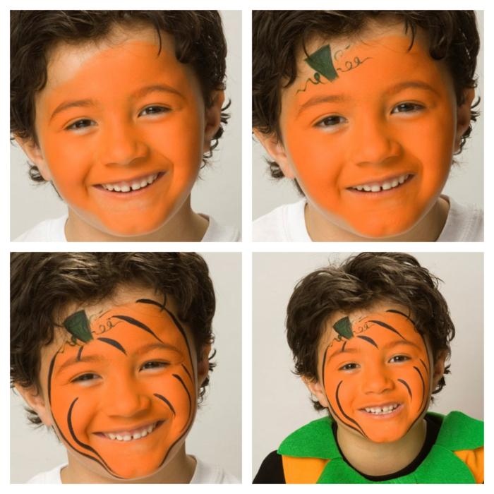 ein Collage aus vier Fotos mit geschminktem Gesicht von dem Jungen als ein Kürbis, Halloween Kinderschminken