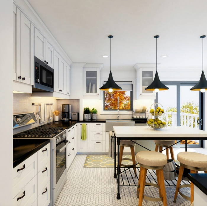 kleine räume einrichten, küche in weiß und schwarz, pendellecuhten in industrialem stil, küchenisel