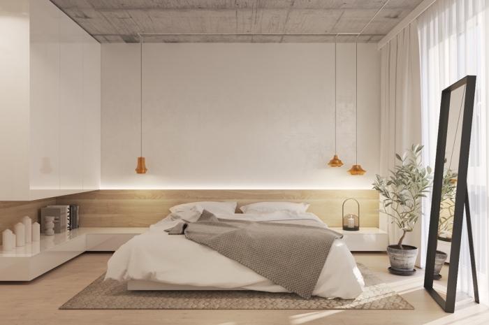 kleine räume einrichten, wand mit led beleuchtung, eckiger teppich, großer spiegel, schlafzimmer deko
