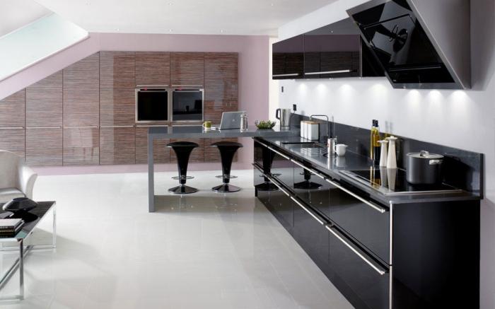 moderne kücheneinrcihtung in schwarz und weiß und rosa, kleine räume, einrichten, designer möbel
