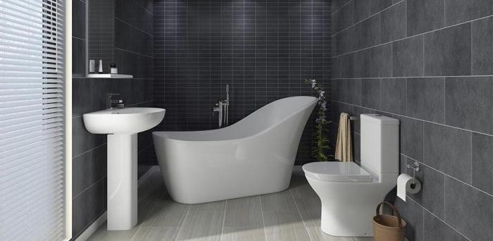 graue keramikfliesen, kleine räume geschickt einrichten, badezimmereirnichtung ideen
