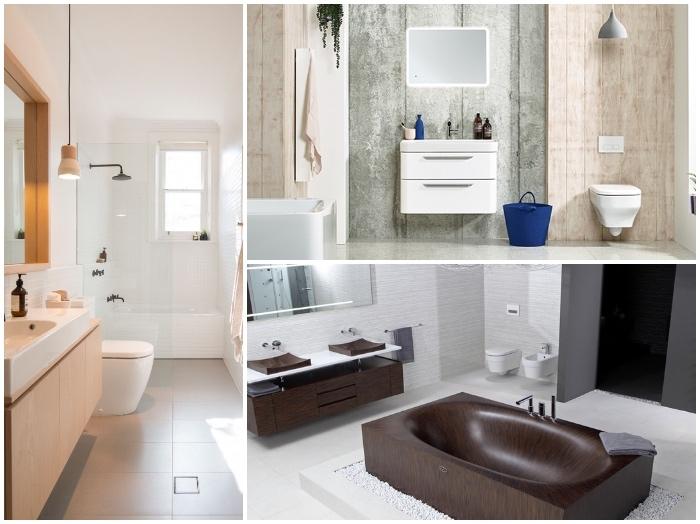 kleine räume geschickt einrichten, badezimmer gestalten, braune badewanne, led spiegel
