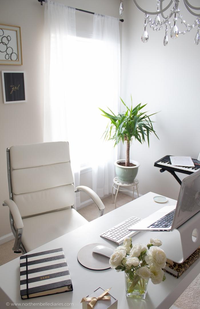 kleines zimmer einrichten, grüne pflanze, büro dekoration, weißer bürostuhl mit leder