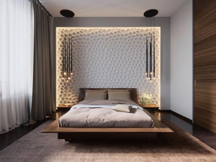 schlafzimmer wanddeko, 3d wand mit led belecuhtung, kleine räume einrichten, pendelleuchten