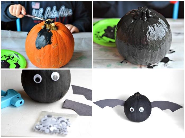 diy deko, kürbis malen, schwarze aquarellfarbe, flederbaus basteln, heißklebepsitole